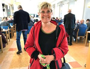 Sjukhusdirektör Nina Fållbäck Svensson är en viktig länk till politikerna som här i regionfullmäktige.