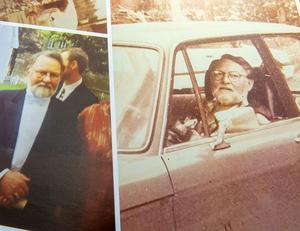 Fotografier på Kristers pappa Olle. Den när han sitter i bilen är troligen en av de sista som togs på honom innan han gick bort.