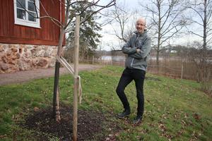 Det har tidigare funnits en fruktträdgård på prästgården men man vet inte exakt hur den såg ut. Benjamin och hans fru har försökt att återskapa trädgården med hjälp en växtlista som den tidigare kyrkoherden Gustaf Wilhelm Gumaelius skrev ner. Han bodde på prästgården för 170 år sedan. Nu är elva träd planterade, mest äppleträd och några päronträd.