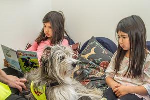 Molly Nettum Pettersson läser för systern Malin och läshunden som var på besök i biblioteket.