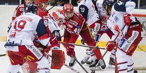 Kalle Jellvert i aktion i en match mot Västervik den gångna säsongen. Bild: Jonas Forsberg/Bildbyrån