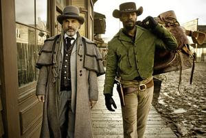 Christoph Waltz spaelar King Schultz och Jamie Foxx  Django i Quentin Tarantinos film