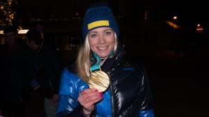 Frida Hansdotter med guldmedaljen.