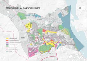 De röda områdena visar var samhällsservice kan ta plats och de rosa visar verksamheter och handel. De blå markeringarna är tänkbart parkeringshus, det gröna för grönytor och det gula för bostäder. De rosa strecken visar prioriterade gång- och cykelstråk, de streckade linjerna sekundära stråk och de blå linjerna nya bilvägar.