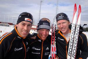 Ett vinnande team. Biathlon Östersund tog med bred  marginal hem SM-guldet i stafett. Första gången för trion Jörgen Brink, Magnus Jonsson och Mattias Nilsson.– Problemet med oss är ju att vi har lite svårt att få ner prickarna ibland, log startmannen Magnus Jonsson efter tävlingen.
