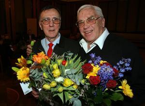 Stig Sollander och Sigge Ericsson på 50-årsdagen av deras medaljer vid OS i Cortina, 31 januari 1956.