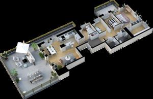 Exempel planlösning fem rum och kök med takterrass. Illustration: Telge bostäder