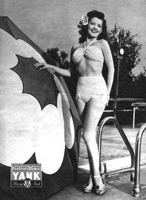 Den amerikanska skådespelerskan Barbra Bates  i en pinuppbild i tidningen Yank, the Army Weekley från 1945. Foto: U.S. Army