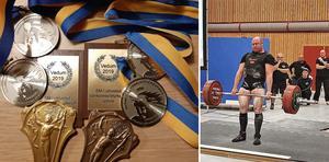 Medaljskörd för Nora atletklubb. Mikael Åhlin 300 kg marklyft Styrkelyft Senior  var en av alla pristagare från Nora AK i SM utrustning i Vedum.