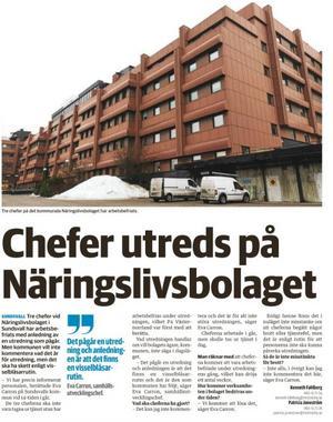 Faksimil från ST 26 mars då det blev känt att tre chefer i Näringslivsbolaget arbetsbefriats.