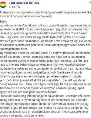 Skärmdump från Vänsterpartiets i Bollnäs Facebooksida.
