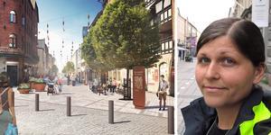 – Drottninggatan ska vara en plats där man vill stanna upp, säger Anna-Karin Gävert, landskapsarkitekt på Gävle kommun. Illustration: Karavan Landskapsarkitekter AB
