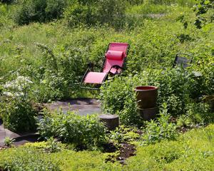 Berit gillar att ha trädgårdsmöbler nära växterna. Med fiberduk och takpapp formar hon trädgården .