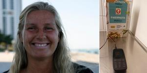Karin Lorenz hittade en Nokia med tillhörande laddare i ett oöppnat paket fiberpasta. Bilder: Privat/Lukas Lorenz