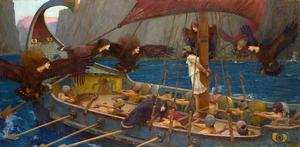 Odysseus  är fastbunden vid masten för att inte lockas i fördärvet av sirenernas sång. Målning av  John William Waterhouse från 1891.