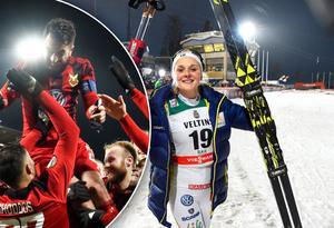 Stina Nilsson laddade inför VC-tävlingen i Ruka med att följa Östersunds FK i Europa League. Bild: TT Nyhetsbyrån.
