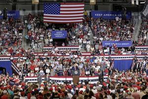 Trump talar vid ett kampanjmöte i Greenville tidigare i veckan. Foto: Gerry Broome