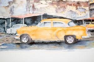 Bilkonst på CarArt Biennalen 2018 - akvarell av Lars Dahlström