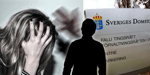 En man i 25-årsåldern misstänks ha misshandlat en kvinna i Borlänge vid två tillfällen. I ett fall ska han ha tagit stryptag på henne och knuffat ner henne för en trappa. Hon ska ha tappat medvetandet och enligt åtalet hamnat i ett
