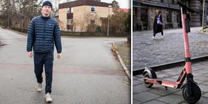 Många använder sig av elsparkcyklar för att ta sig fram i Västerås. Ansvaret för att samla in dem ligger bland annat på Aron Tägtgård Coter som fyller 20 år den 23 januari.