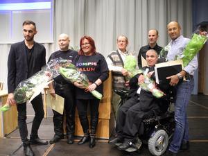 Falu kommuns pristagare för 2017. Från vänster: Emil Carlstrand (kulturstipendium), Bert Blom och Janina Bengtsdotter från