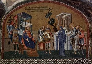 Josef och Maria skattskriver sig. Mosaik från 1320-talet i Istanbul.