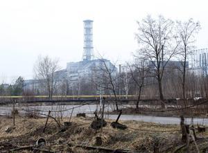 Sarkofagen över Tjernobyls reaktor 4.