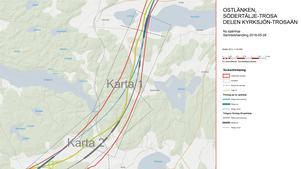 Den nya sträckningen innebär bland annat en fyra kilometer lång tunnel vars ena mynning ligger cirka kilometern in i Södertälje kommun. Den blå streckade linjen är den nya tunnelsträckningen. Kommungränsen går strax söder om Sandhälla. Illustration: Trafikverket