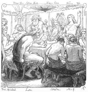Den hånfulle Loke dyker objuden upp på gudarnas gästabud. Illustration av Lorenz Frølich från 1895.