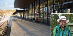 Här på perrongen till spår 11 blev Lars-Gunnar Olsson (infällda bilden) och några till av de försenade tågresenärerna utelåsta sent på söndagskvällen. Att det fanns en nödväg därifrån via en trappa längst bort på perrongen vid hoppbacken, det fanns det ingen information om.  Foto: Per Eurenius och Torbjörn Berlin (lilla bilden)