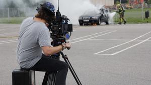 Danny Weijman filmar den brinnande bilen på Krillans parkering.