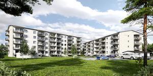 Så här är det tänkt att de två flerfamiljsbostadshusen ska se ut i Tallåsen i Östersund. Illustration: Peab
