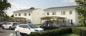 Skissen visar hur de nya bostadsrätterna kommer att se ut. Obos bygger fem hus med fyra lägenheter i varje hus.
