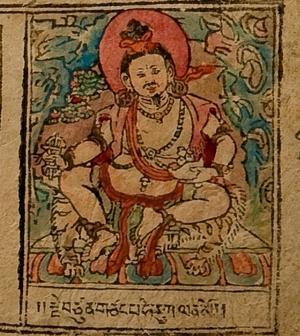 En gammal bild av Tsangnyön Heruka, från ett blocktryck.