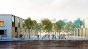 Mälarparksskolan sedd från Mälarparksvägen.Illustration: Kjellgren Kaminsky Architecture