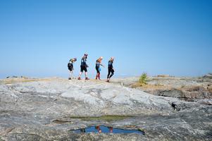 Det sprangs mycket på klipporna under tävlingen. Foto: Gunnar Eld