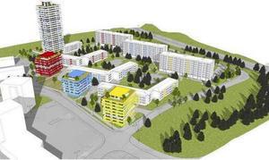 Mitt emot Pettersbergs centrum och längre in i området planeras nya bostadshus. Utformningen är inte bestämd i detalj. Planen tas upp av byggnadsnämnden 12 juni. Illustration: White Arkitekter