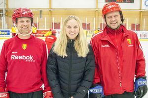 Ledartrion Martin Trygg, tränare, Karin Åström, lagledare och Ola Persson, tränare.