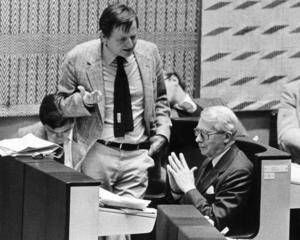 Olof Palme och Gösta Bohman var bittra antagonister, men samtidigt stod de båda för en vinnande individualism i det svenska samhället. Foto: Rolf Hamilton /Scanpix