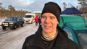 Magnus Proos från Sveg körde Saab 9-3 på det ganska mjuka isiga underlaget.
