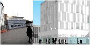 Kommunhuset är i dag två våningar högt. Snart påbörjas en ombyggnation som ska göra huset tre våningar högre. Byggarbetena i Nykvarns centrum fortsätter och utökas med andra ord. Illustration: Scheiwiller Svensson arkitektkontor