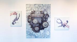 Magiska maskiner skapade av människohand. Målningar av Anna Norvell.