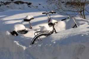 Foto: Seppo Remes   Inte riktigt väder att cykla.