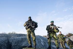 Soldater ur 203:e amfibieskyttekompaniet under den nationella övningen Swenex 2016. Soldaterna är så kallat tidvis tjänstgörande och inkallade 3-4 veckor om året för militärtjänstgöring. Här på en ö i Stockholms skärgård. Foto: Fredrik Sandberg / TT