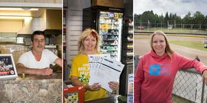 Ali Cicek, Sussie Eriksson och Linda Fogelström är tre Hallstaviksbor som ser fram emot lördagens speedwayfest .