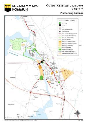 Så här föreslås att Ramnäs ska utvecklas kommande 20 åren. Karta: Geodatasamverkan och Surahammars kommun