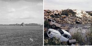 Venaområdet före och efter tippens anläggande. Tippen ligger på ett område som nu klassas som olämplig för en parkering.  FOTO (färgbilDen): Lillevi Richardtson, Örebro, Bildkälla Örebro stadsarkiv