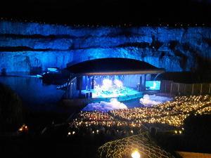 Kalkbrottet utanför Rättvik är en mäktig arena, men på senare år har publiken svikit operaföreställningarna.Foto: Arkivbild