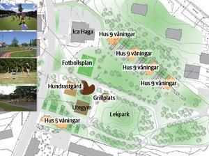 Preliminär skiss över hur Peab vill bygga bakom Ica Haga på Hästhovsgatan. Illustration: E/S-A arkitekter