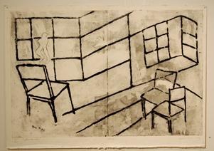 Hjördis J Becker leker med linjerna där väggar flyttar sig i